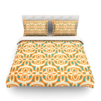 "Catherine McDonald ""Swan Lake Turquoise"" Teal Orange Featherweight Duvet Cover"