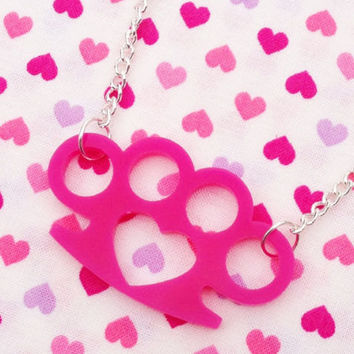 Pink Knuckle Duster Necklace