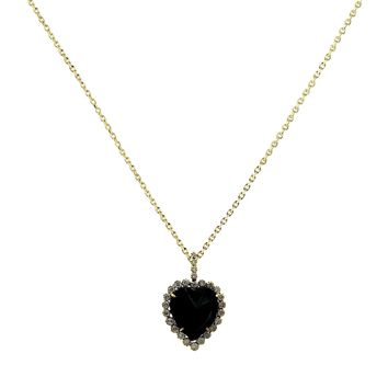 23.27tcw Black & White Diamonds in 14K Yellow Gold Halo Heart Charm Necklace