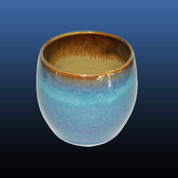 Hand thrown tumbler cup, this handmade 9 oz mug is made on a pottery wheel with porcelain and blue and brown ceramic glazes, great gift idea