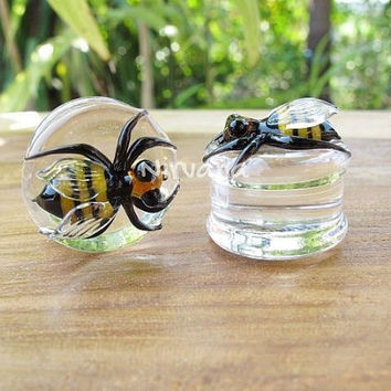 "Pyrex Glass Honey Bee Plugs One Pair Gauges 00g 7/16"" 1/2"" 9/16"" 5/8"" 3/4"" 1"" 9.5 mm 10 mm 12 mm 14 mm 16 mm 18 mm 20 mm 22 mm 25 mm"