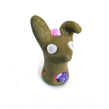 Zombie rabbit figurine, undead bunny in polymer clay