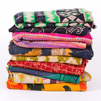 10pc Vintage kantha quilt blanket 10 WHOLESALE, sari kantha quilt bed cover, Reversible Kantha, Antique Quilt, Bohemian Blanket Quilt, Throw