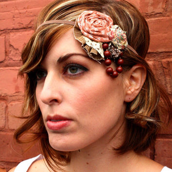 Flapper Girl Dusty Rose & Floral Vintage Woodland and Lace Headband 1920s Great Gatsby -Custom Made Any Colors