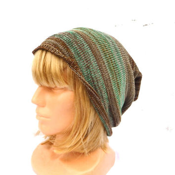 knitted green brown cotton hat knit colorful cap multicolor cloche summer slouche unisex head dress striped beanie eco friendly hat handmade