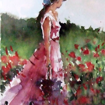 Original Watercolor Painting,Watercolor Original, Popies, Red Flowers, Girl,Figure, Flower art