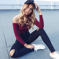 Fashion off Shoulder Sweater Casual Pullover Crop Top Cropped Sexy Sweaters