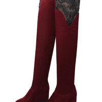 Womens Sexy Laced Knee High Boots