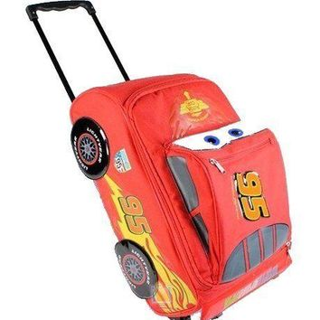 "Disney Pixar Cars 2 Lightning McQueen Boys 17"" Rolling Red Luggage"