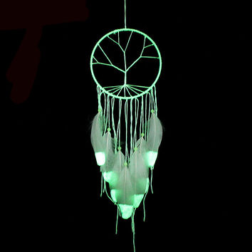 Fashion Gift India Tree of Life Fluorescence Dreamcatcher Noctilucous Wind Chimes & Hanging Pendant Dream Catcher Regalo BMW078