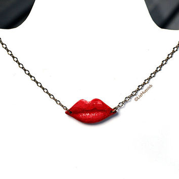 Red Lips Necklace Pop Art