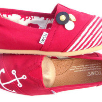 The Sailor  Red and White Custom TOMS by FruitfulFeet on Etsy