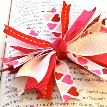 Pink  Heart Spike Hair Bow