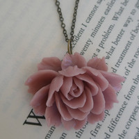 Pink flower necklace- Pink ruffle flower necklace- Large flower necklace- Mauve large flower necklace- Ruffle flower- Pink flower