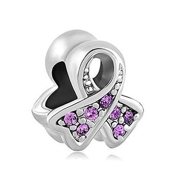 CharmsStory Sterling Silver Purple Synthetic Birthstone Ribbon Breast Cancer Awareness Charm For Bracelets