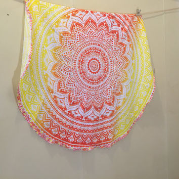 SALE!!! Yellow & orange ombré handmade printed round tapestry/ bed throw/ beach throw/ picnic blanket
