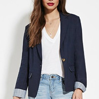 Striped-Trim Linen Blazer