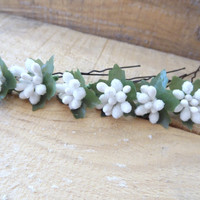 Mulberry Wedding Hair Pins, White Bridal Hair Pins, Hair Accessories, Bridesmaid Hair, Woodland - Set of 6
