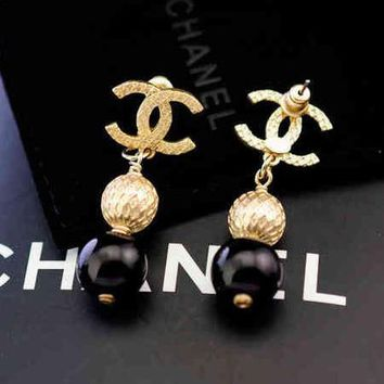 Chanel Woman Fashion CC Logo Stud Earring Jewelry