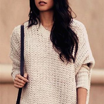 Fashion Simple Hollow loose blouse top Long Sleeve Sweater Pullover Knitwear