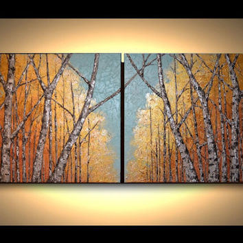 Original Fine Art 48x18 Abstract Birch Trees, Modern Artwork, Home Decor, Summer, Aspen Tree Painting, Landscape, great gift idea