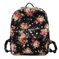 MP Women's Floral Print Black School Bag Travel Backpack 042323 BDP 0528