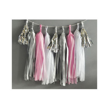 Paper Garland & Metallic Mini Tassels - 20 Tassel DIY Kit - Candy Pink White Silver Foil - Wedding Decor Party Bridal Shower Baby Birthday