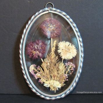 Vintage Pressed Dried Flower Glass Window Ornament / Suncatcher, Sun Catcher