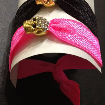 Gold Rhinestone Skull Elastic Hair Ties (and Bracelets)