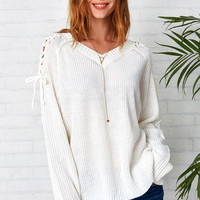 Cupshe Tie Favorite Lace Up Ivory Sweater