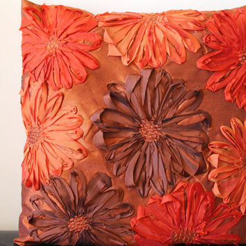 Orange Throw Pillow, Brown Throw Pillow, Orange, Brown, Rust, Throw Pillow Cover, Flower Pillow, Decorative, 16x16 pillow- 'Autumn Bloom'