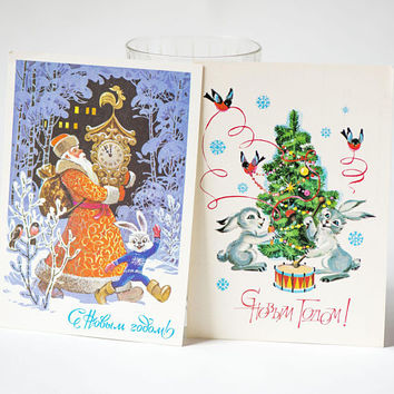Vintage New Year's postcards Russian set 2, drummers rabbits winter joy, Father Christmas postcard blank, retro art postcard Old Man Frost