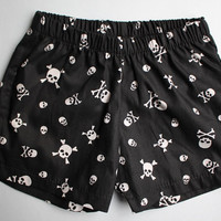 "Silver ""Jolly Roger"" Skull and Crossbones Baby Boy Shorts - READY TO SHIP by Little Dreamer"