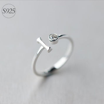 925 Sterling Silver 10 opening ring,adjustable CZ silver ring, simple silver ring,a perfect gift