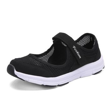 Breathable Walking Shoes Fashion Summer Shoes Woman Outdoor Flats Casual Shoes Spring Adult Anti-Skid Platform Zapatos Mujer