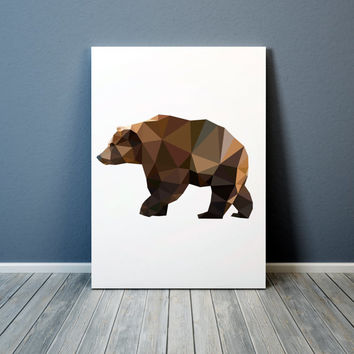 Geometric bear poster Grizzly print Animal art Colorful decor TO303-1
