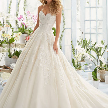 Elegant Embroidery on Classic Tulle Wedding Dress | Style 2808 | Morilee