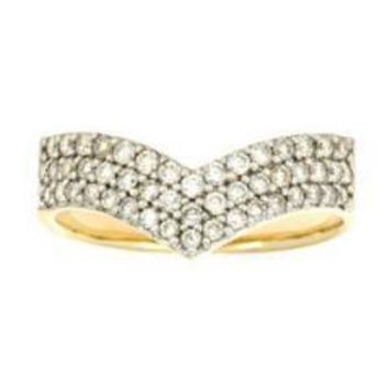 "14K Yellow Gold Diamond ""V"" Right Hand Ring (0.60 Ctw)"