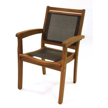 Outdoor Interiors Sling & Eucalyptus Stackable Arm Chair