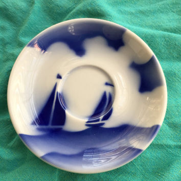 Mod dishes - Syracuse China - Teacup saucer - China - Retro kitchen - Sailboat dish - Grandmas kitchen