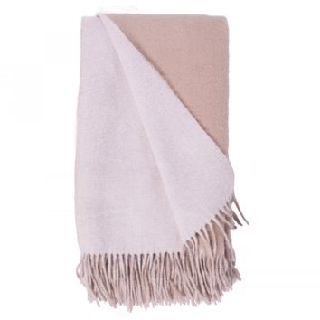 White and Bisque Wool / Cashmere Double-Faced Throw