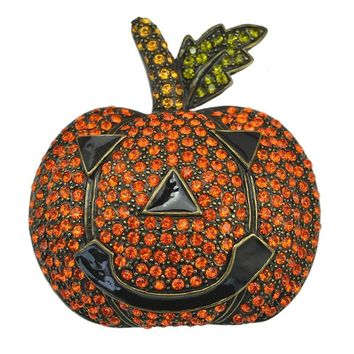 Halloween Pumpkin Brooch Pin Crystal Rhinestone Festival  Accessory Unisex Garment Fashion Jewelry