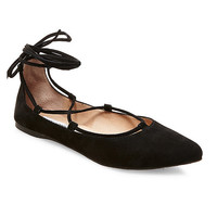 Steve Madden Eleanorr Lace-Up Almond-Toe Flats | Dillards