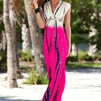 FUCHSIA MULTI Tie dye maxi dress from VENUS