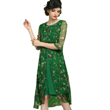 Vintage Round Collar 3/4 Sleeve Allover Floral Print Dress for Women