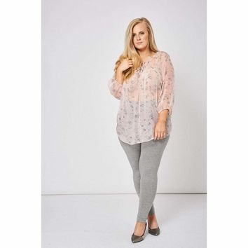 Nude Pink Floral Sheer Blouse with Front Tie