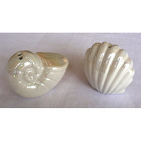 """Seashell Salt & Pepper Shaker Set - One Is a Nautilus the Other a Clam, Shiny Pearlized Glossy Finish - Small At Just 2.5' X 2"""""""