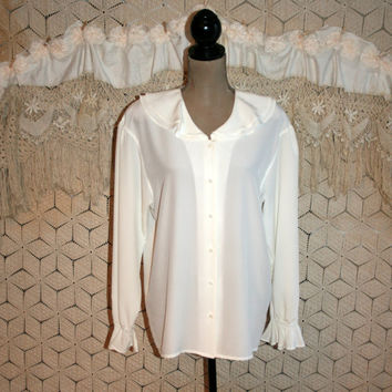 White Blouse Poet Blouse Long Sleeve Blouse Romantic Blouse Ruffled Cuffs Button Up Blouse 80s Women Blouses Medium Large Womens Clothing