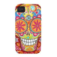 Colorful Sugar Skull iPhone 4/4S Vibe Case Vibe iPhone 4 Case from Zazzle.com
