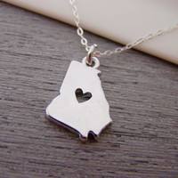 Georgia State Heart Cut Out Charm Sterling Silver Necklace / Gift for Her - Georgia Necklace - State Necklace - Geography Necklace